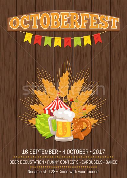 Oktoberfest Werbe- Plakat Vektor Holz Hintergrund Stock foto © robuart