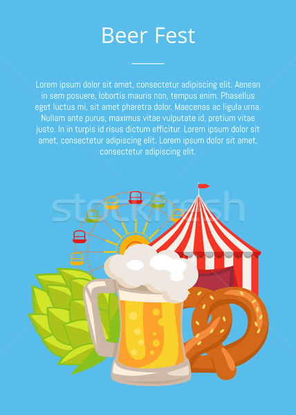 Beer Fest Poster Closeup Vector Fun and Snack Stock photo © robuart