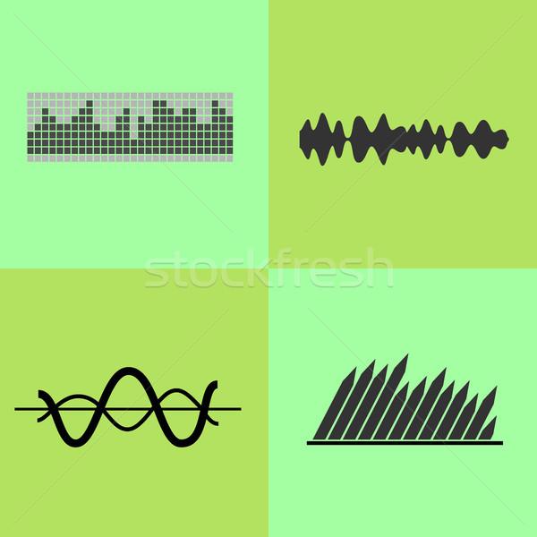 Ecualizador interfaz gráfico líneas olas iconos Foto stock © robuart