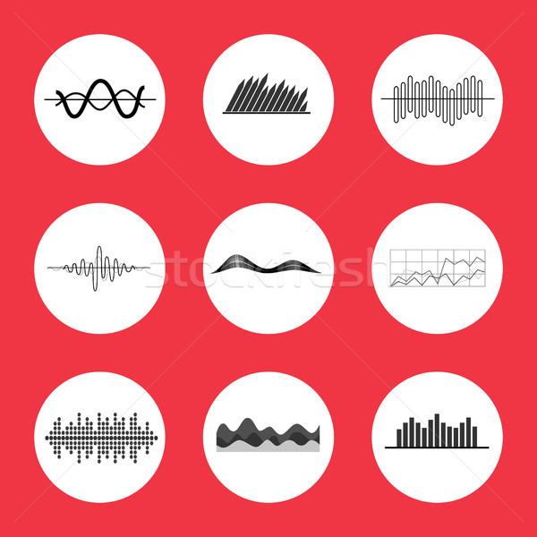 Táblázatok grafikonok hangszínszabályozó interfész ikonok ikon szett Stock fotó © robuart
