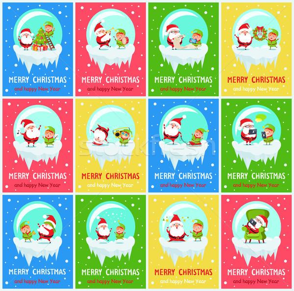 Stock foto: Heiter · Weihnachten · beunruhigt · glückliches · neues · Jahr · elf
