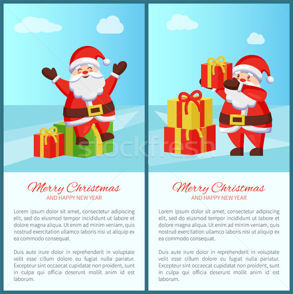 Alegre Navidad año nuevo feliz año nuevo banners papá noel Foto stock © robuart