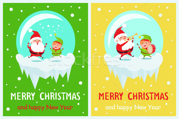 Merry Christmas and Happy Time Vector Illustration Stock photo © robuart