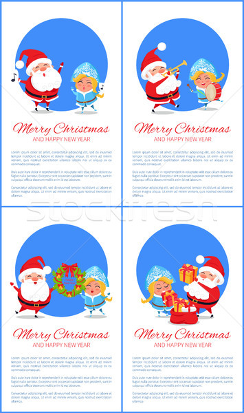 Merry Christmas Set of Banners, Cheerful Santa Claus Stock photo © robuart