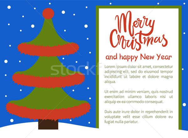Stok fotoğraf: Neşeli · Noel · happy · new · year · poster · ağaç · dalgalı
