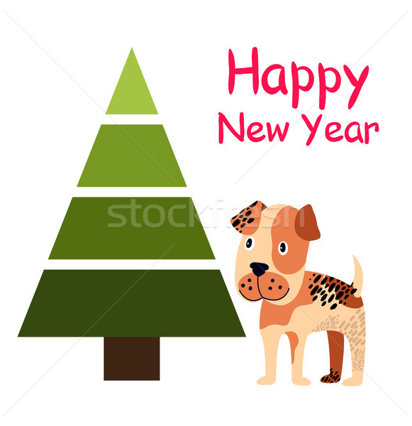 Happy New Year Poster with Spruce Tree and Dog Stock photo © robuart