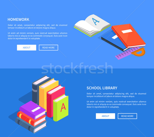 Homework School Library Vector Posters with Books Stock photo © robuart