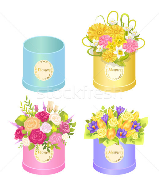 Stock photo: Flowers in Boxes Set of Spring Ddelicious Bouquets