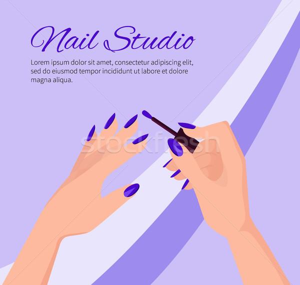 Szög stúdió promóciós poszter női kezek Stock fotó © robuart
