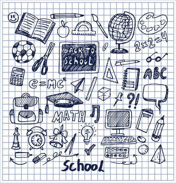 Set of School Stuff Hand Drawn Vector Illustration Stock photo © robuart