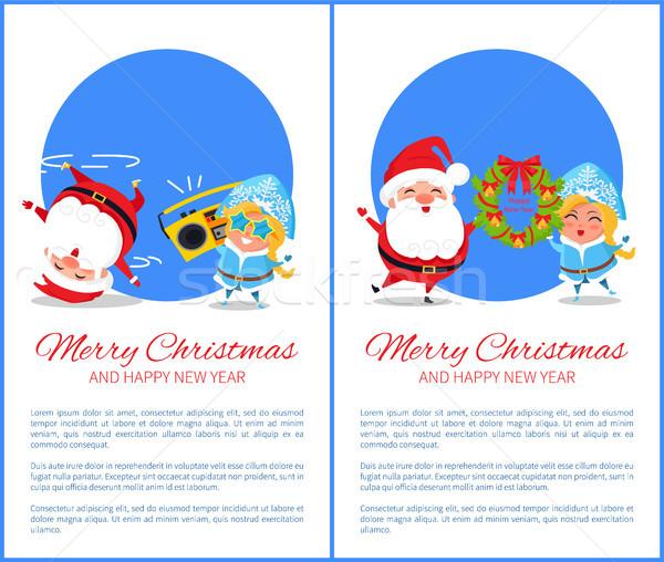 Wesoły christmas szczęśliwego nowego roku Święty mikołaj śniegu Zdjęcia stock © robuart