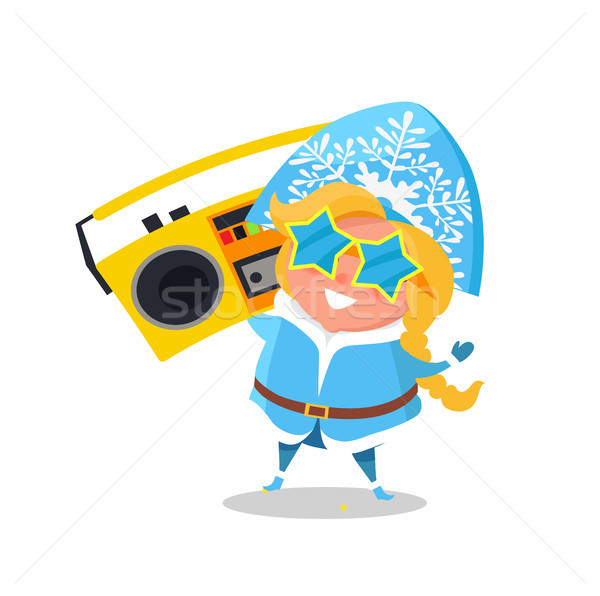 Stock photo: Snow Maiden with Record Player Vector Illustration