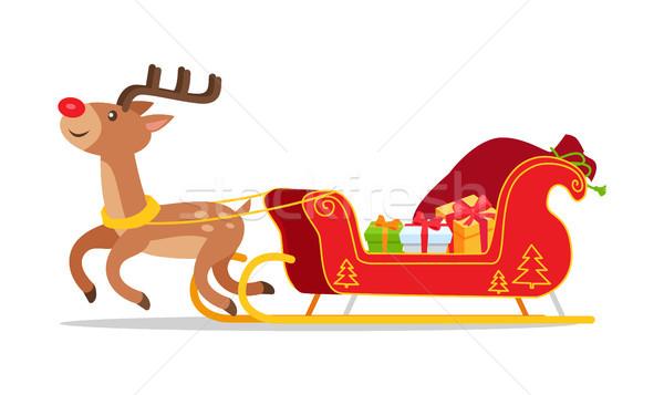 Renifer christmas sanie przedstawia wektora odizolowany Zdjęcia stock © robuart