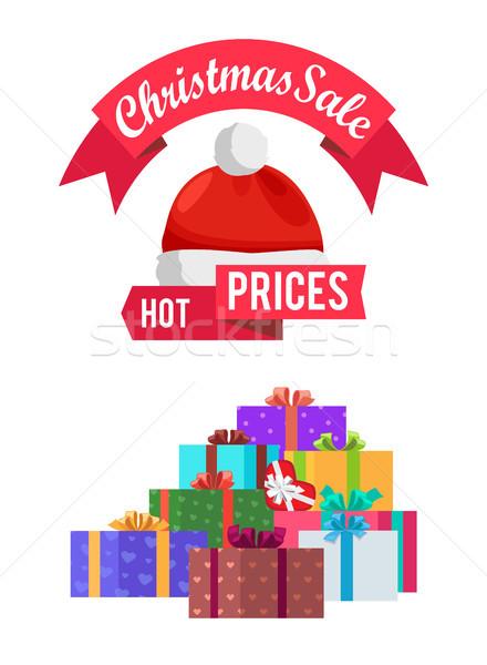Quente preços natal venda cartão de presente emblema Foto stock © robuart
