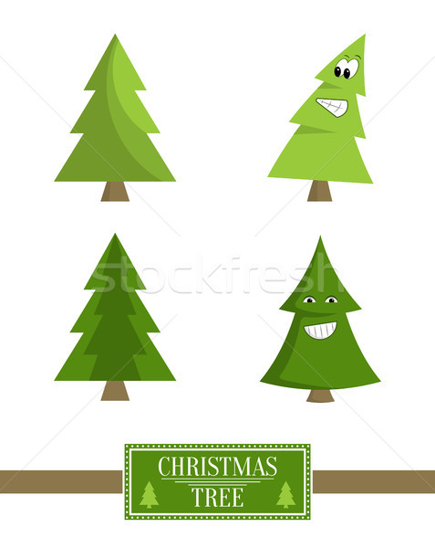 Christmas Tree Sign Board Collection Spruce Icons Stock photo © robuart