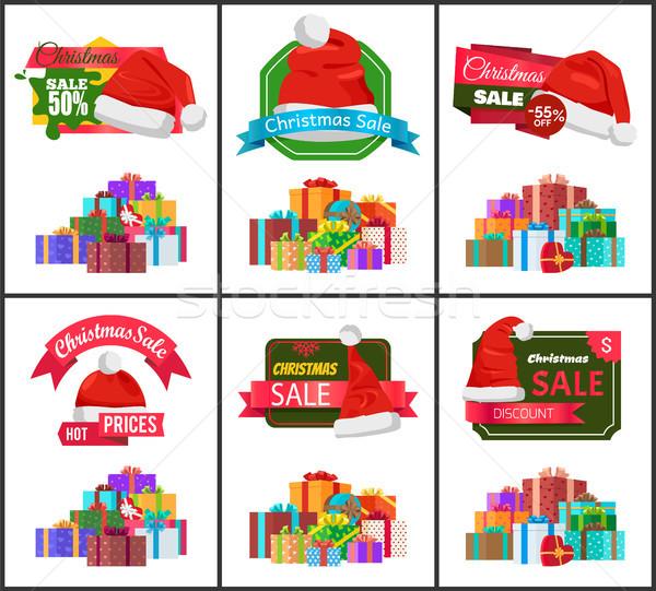 ünnepi karácsony vásár közlemény plakátok szett Stock fotó © robuart