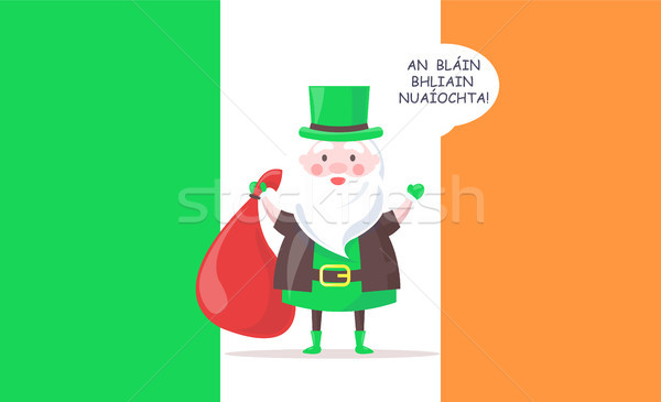 Irish Santa Claus in Tall Hat Greets with New Year Stock photo © robuart