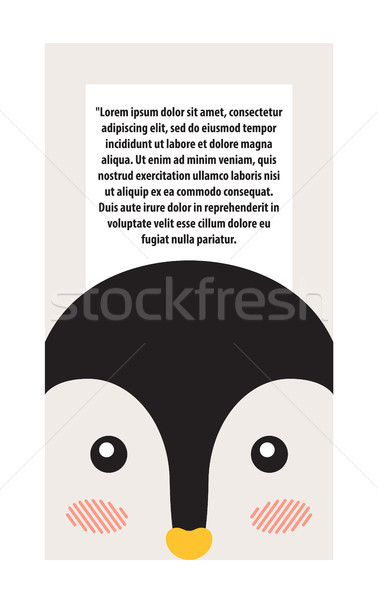 Penguin Animal Cover and Text Vector Illustration Stock photo © robuart