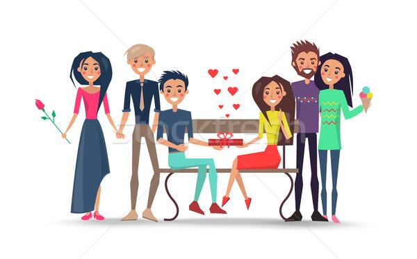Boldog párok körül pad izolált illusztráció Stock fotó © robuart