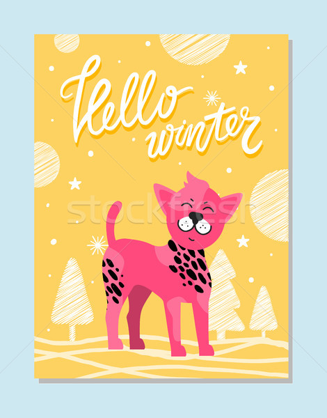 Olá inverno cartaz rosa cão símbolo Foto stock © robuart