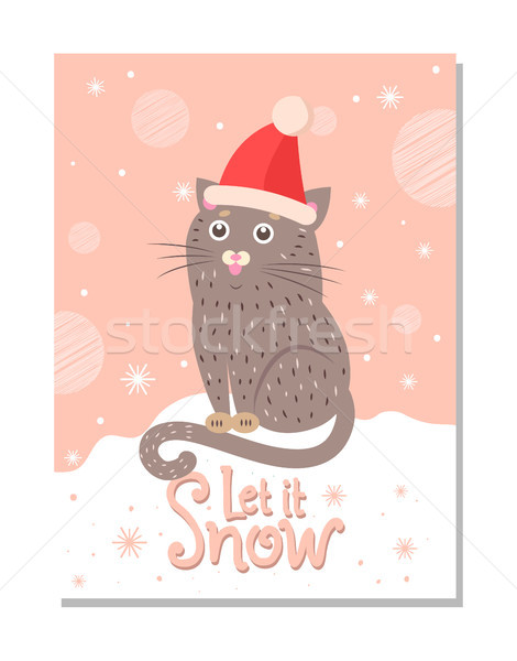 Let it Snow Poster with Handdrawn Cat in Santa Hat Stock photo © robuart