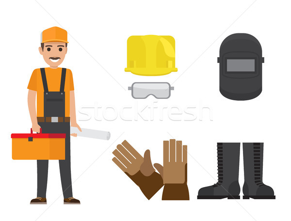 Builder with Toolbox, Plan and Protective Clothing Stock photo © robuart