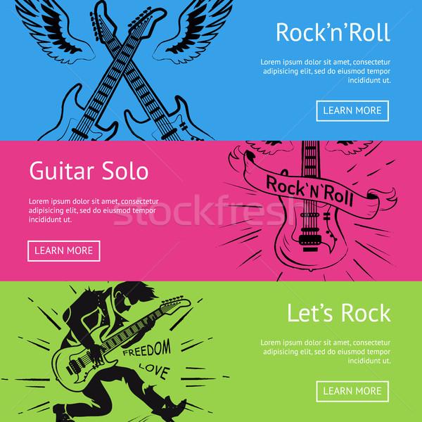 Rocha rolar guitarra conjunto pôsteres texto Foto stock © robuart