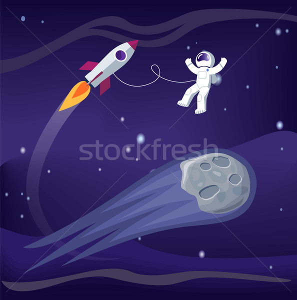 Space and Astronaut with Ship Vector Illustration Stock photo © robuart