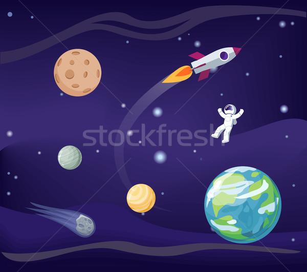 Planeten ingesteld kosmonaut vliegen maan aarde Stockfoto © robuart