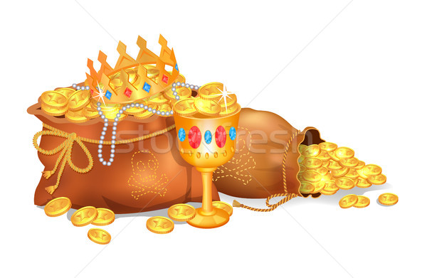 Old Sacks Stuffed with Gold Coins and Jewelry Stock photo © robuart