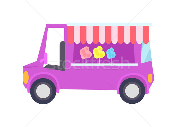 Pretty Lilac Car-shop with Sweet Cotton Candy Stock photo © robuart