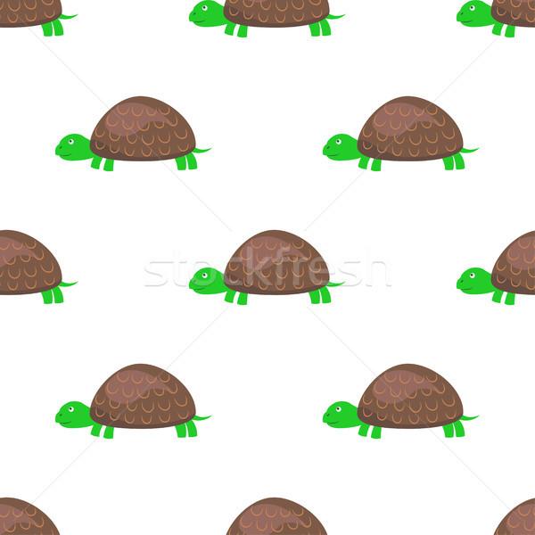 Rajz teknős végtelen minta fehér vektor teknősbéka Stock fotó © robuart