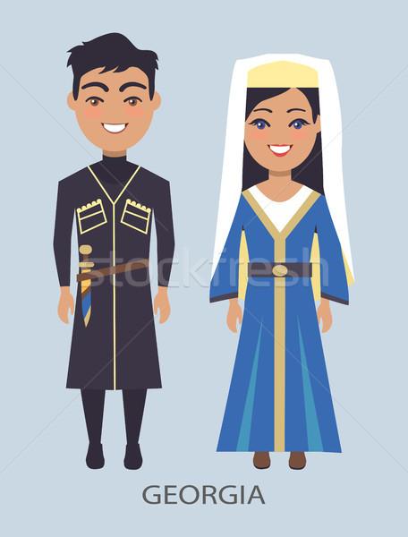 Грузия костюмы синий человека женщину традиционный Сток-фото © robuart
