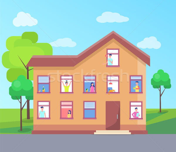 Three Storey House People Windows Vector Building Stock photo © robuart