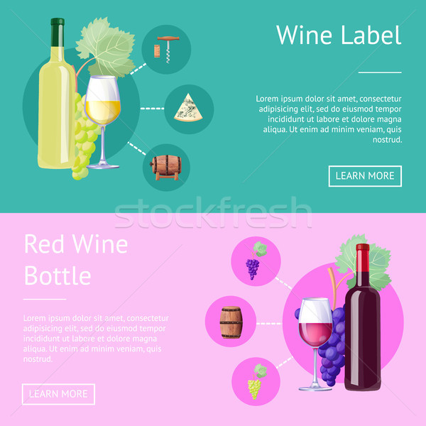 Wine Label and Bottle of Red Internet Banners Stock photo © robuart