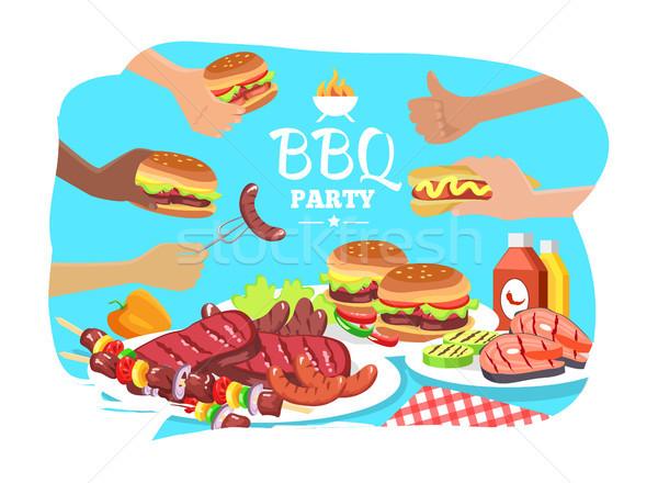 Stockfoto: Bbq · partij · poster · kleurrijk · grill · voedsel
