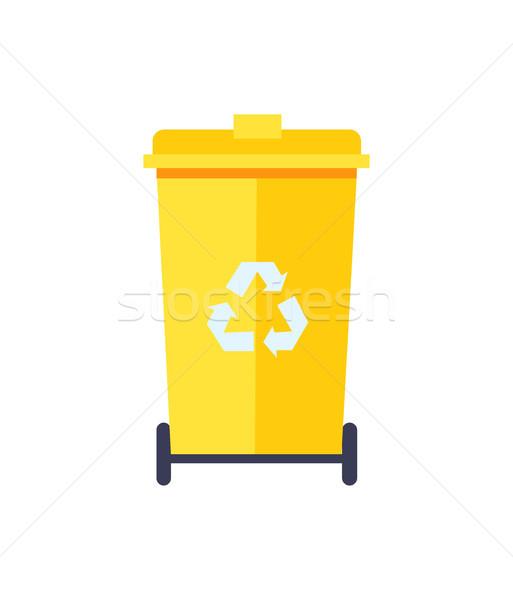 желтый мусорное ведро цвета икона изолированный белый Сток-фото © robuart