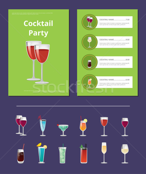 Cocktail Party Menu List Cocktail Price Ingredient Stock photo © robuart