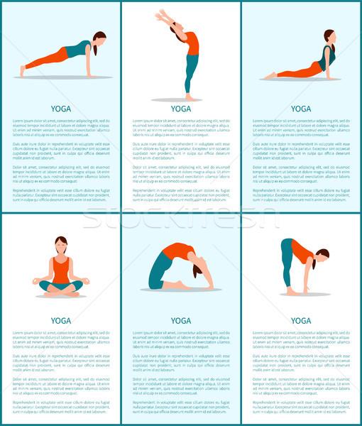Ioga coleção flexível mulher cor cartão Foto stock © robuart