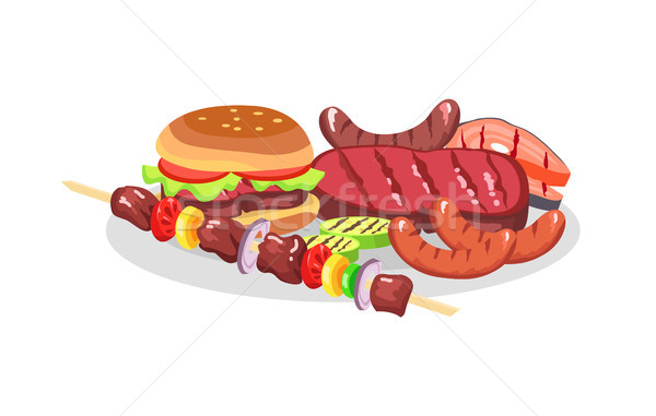 BBQ Food exposition, Big Burger and Savory Steaks Stock photo © robuart