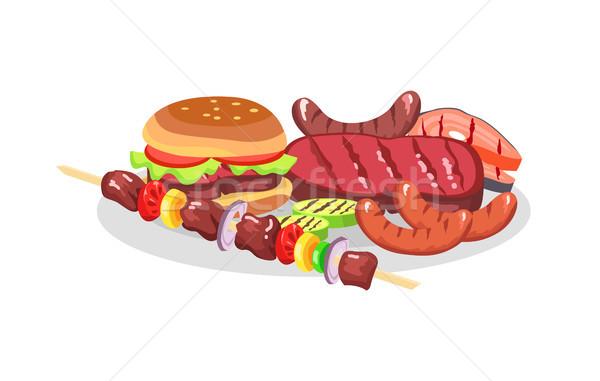 Churrasco comida grande burger segurelha isolado Foto stock © robuart