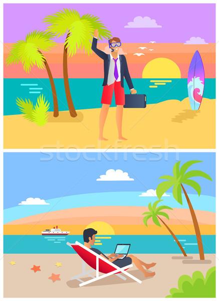 Summer Job and Seaside Set Vector Illustration Stock photo © robuart
