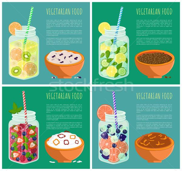 Vegetáriánus étel plakátok szett detoxikáló diéta frissítő Stock fotó © robuart