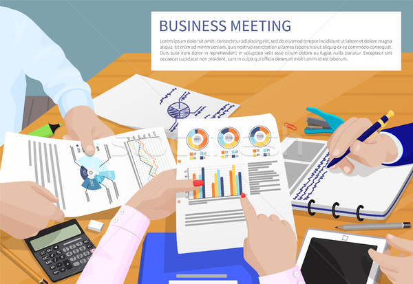 Business Meeting and Text Vector Illustration Stock photo © robuart