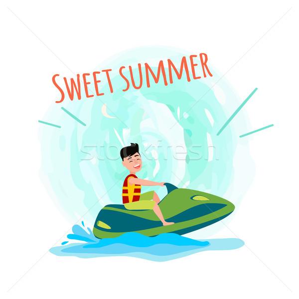 Dulce verano anunciante hombre jet ski Foto stock © robuart