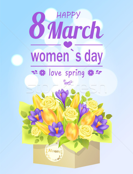 8 March Womens Love Spring Poster Flower Bouquet Stock photo © robuart
