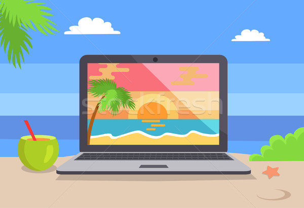 Open Notebook Picture of Tropical Sunset Coastline Stock photo © robuart