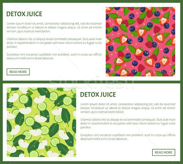 Detoxikáló dzsúz poszter hozzávalók frissítő ital Stock fotó © robuart