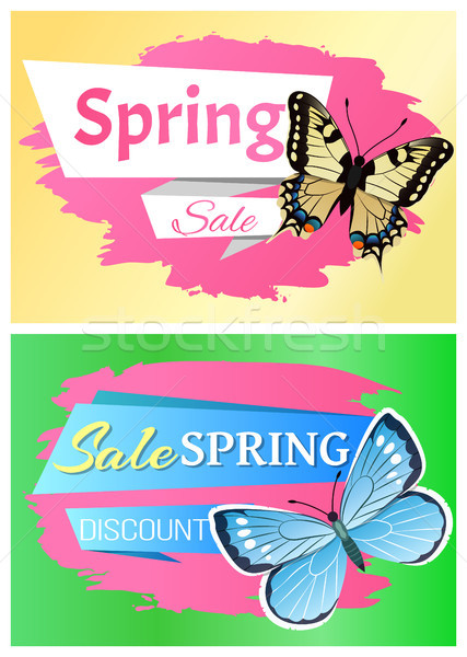 Spring Sale Labels Set Butterfly Ornaments Wings Stock photo © robuart