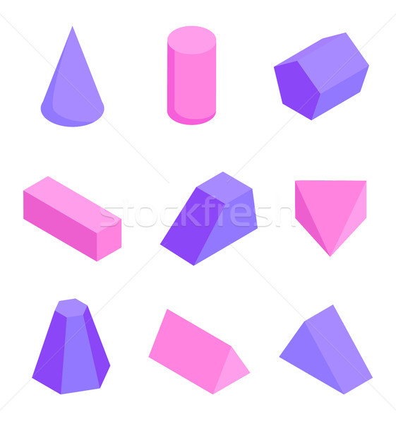 Colorful Figures Set, Various Prisms Templates Stock photo © robuart